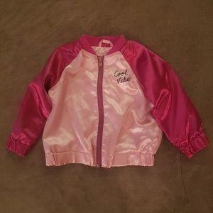 Girls Pink Satin Cool Vibes Jacket